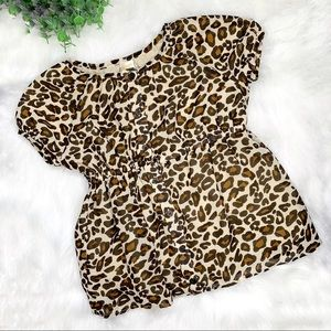 Gymboree Sheer Leopard Lined Button Front Top 9